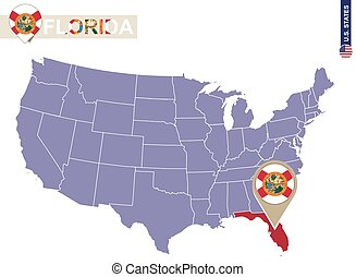 Florida State on USA Map. Florida flag and map.