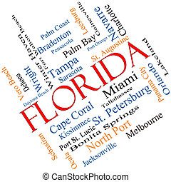 Florida State Word Cloud Concept Angled - Florida State Word...