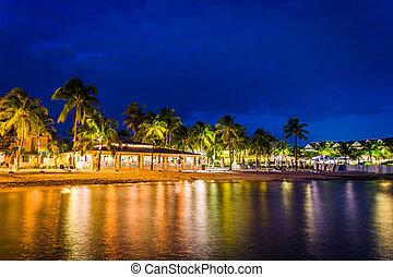 florida., strand, vest, nøgle, nat, syd