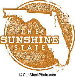 Florida Sunshine State Stamp - Florida USA State Stamp