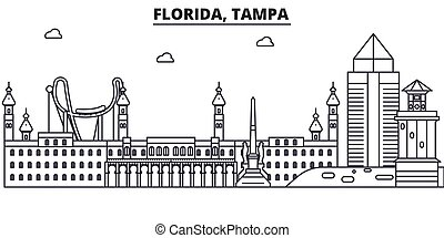 Florida, Tampa architecture line skyline illustration. Linear vector cityscape with famous landmarks, city sights, design icons. Editable strokes