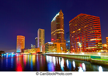 Florida Tampa skyline at sunset in US