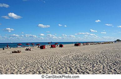 florida, tengerpart, csábító, déli