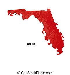 Florida. United States Of America. Vector illustration. Watercolor texture.