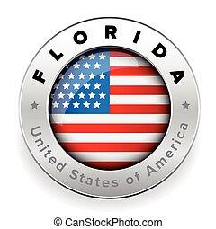 Florida Usa flag badge button