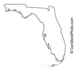 Florida (USA) outline map with shadow. Detailed, Mercator projection.