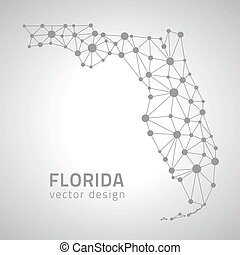 Florida vector grey contour map, America - Florida vector ...