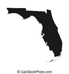Florida vector map silhouette. High detailed illustration. ...