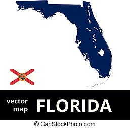 Florida vector map with state flag. Blue map on white background.