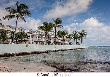 florida, vest, tilholdsteder, nøgle, strand, syd
