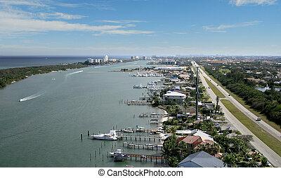 Florida Waterway Flyover Aerial
