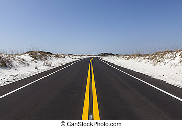 Florida White Sand Beach Road - White sand beach road at...