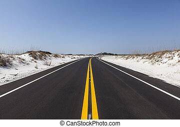 florida, white tengerpart, homok, út