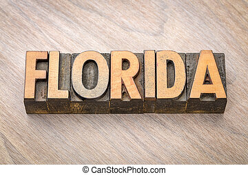 Florida word abstract in wood type
