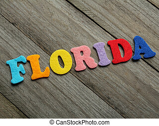 Florida word on wooden background
