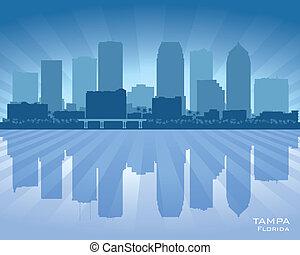 floride, tampa, horizon, vecteur, ville, silhouette