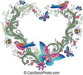 florido, forma, de, corazón