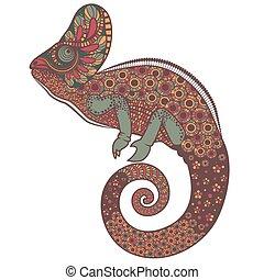 florido, vector, colorido, ilustración, camaleón