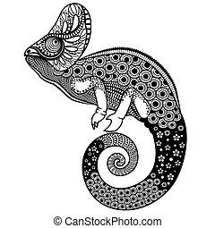 florido, vector, ilustración, camaleón