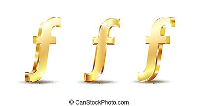 Florin currency vector icon, mathematical function symbol sign, Hungarian Forint sign. Golden currency symbol isolated on white.