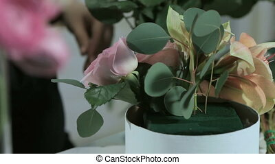 Florist Arranging Modern Bouquet, Flower Shop