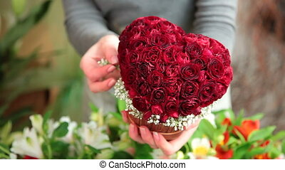 Valentines Day Rose Heart Bouquet