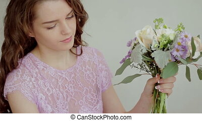Florist collect beautiful bouquet of flowers