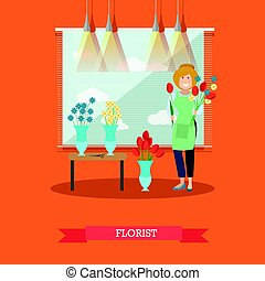 Florist concept vector illustration in flat style