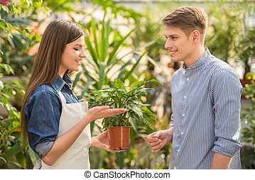 Female florist giving young male flower pot.