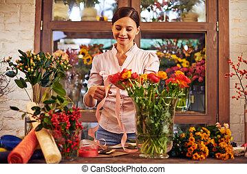 Florist in shop