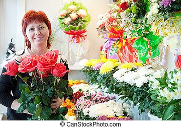 florist in  small  flower shop