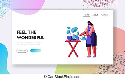 Florist Profession, Job, Flower Shop. Girl Caring of Plants in Pots, Making Design Compositions for Customers Visiting Store, Website Landing Page, Web Page. Cartoon Flat Vector Illustration, Banner