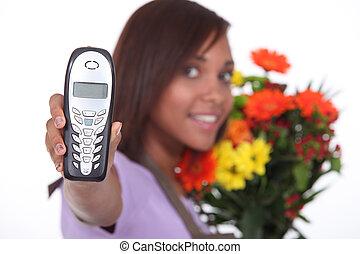 florist showing phone