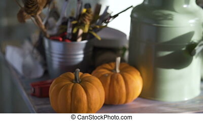 florist table with pumpkins closeup in flowers store