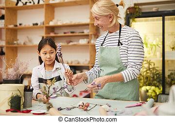 Florist Teaching Asian Girl