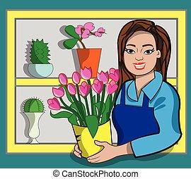 Florist - This illustration represents a florist while...