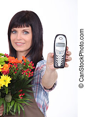 Florist with phone