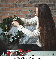 Florist Woman with Christmas Deco at Home Office Desk