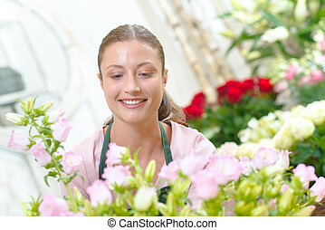 Florist working with flowers