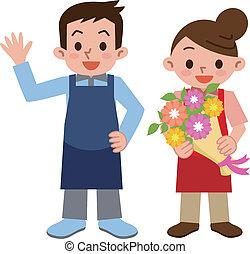 florista, hombres, mujeres