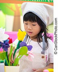 florista, niña, el jugar del papel, ocupación