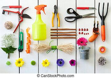 florista, tools., jardinería