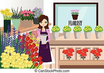 florista, trabajando, con, ramo, diferente, flores