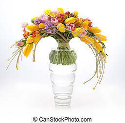 Floristics - colorful vernal flower bouquet arrangement in vase isolated on white