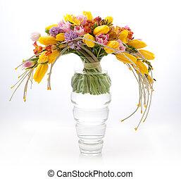 Floristry - colorful vernal flowers bouquet arrangement
