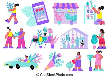 Floristry Flat Icon Set - Floristry set of flat icons and ...