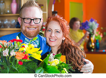 Florists in their Shop