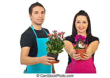 Florists with flowers for sale
