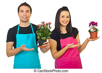 Florists workers  showing to their plants