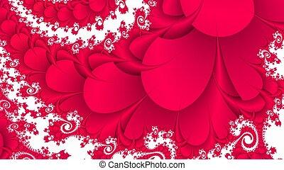 floritura, fondo blanco, fractal, rojo